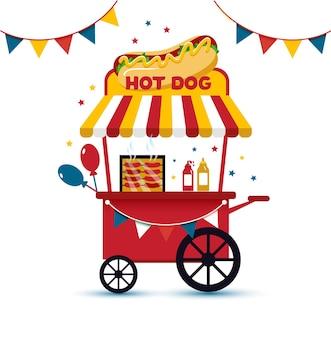 Retro-hot-dog-wagen mobil fast-food-illustration