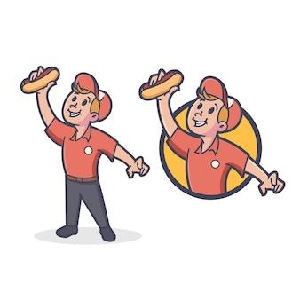 Retro hotdog maskottchen logo