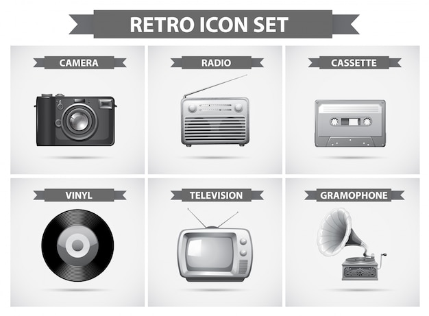Retro-icon-set in graustufen