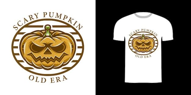 Retro-illustration kürbis für t-shirt-design