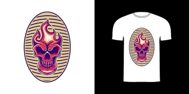 Retro-illustration schädel feuer für t-shirt-design