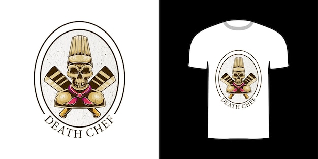 Retro-illustration todeskoch für t-shirt-design