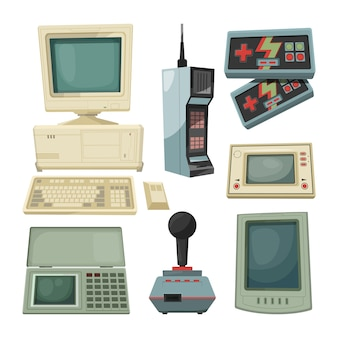 Retro-illustrationen von technikern gadgets. vektorgrafiken