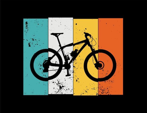 Retro-illustrationsdesign der mountainbike- oder fahrradsilhouette