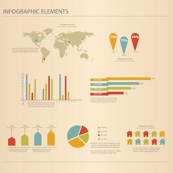 Retro infografiken festgelegt.