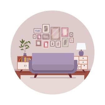 Retro interieur mit einem sofa, sideboard, bilder