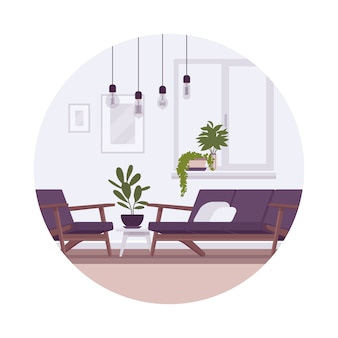 Retro interieur mit lampen, sofa, sessel, pflanzen