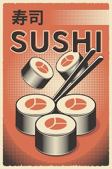 Retro japanisches essen sushi poster