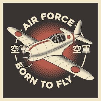Retro japanisches flugzeug der luftwaffe