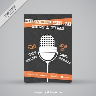 Retro jazz-broschüre mit mikrofon