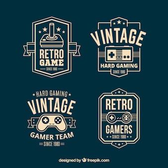 Retro joystick-logo-kollektion mit eleganter stil