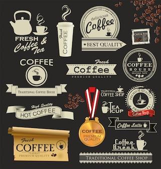 Retro kaffee abzeichen und etiketten
