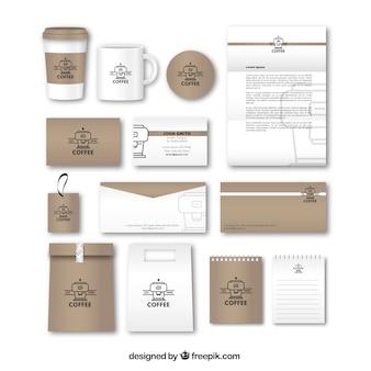 Retro kaffee briefpapier mit zubehör