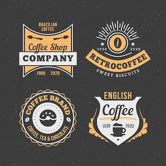 Retro kaffee-logo-pack