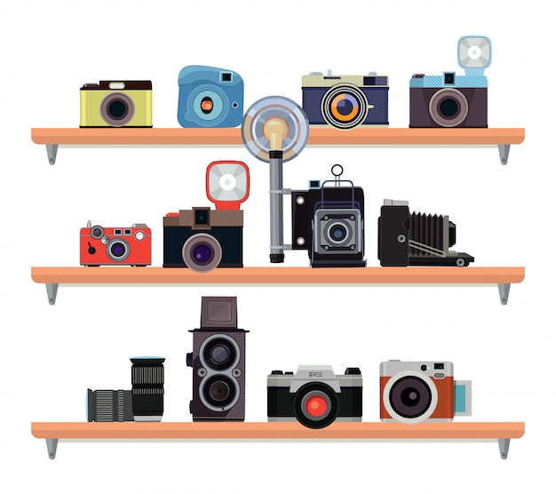 Retro kameras und spezifische details für fotografen