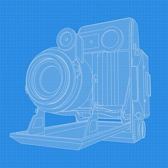 Retro kamerazeichnung. unterschiedlicher winkel und 3d-projektion der retro-kamera auf blaupause. vintage fotokamera vektorzeichnung.
