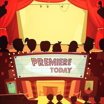 Retro-karikatur-fahnenset des theaters