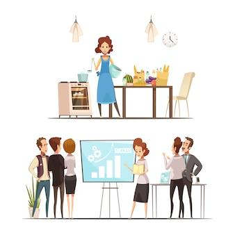 Retro- karikaturarbeitsfamilien-balancenkonzept der mutterschaft 2 mit nach hause kochen und erfolgreiche geschäftsdarstellung lokalisierte vektorillustration