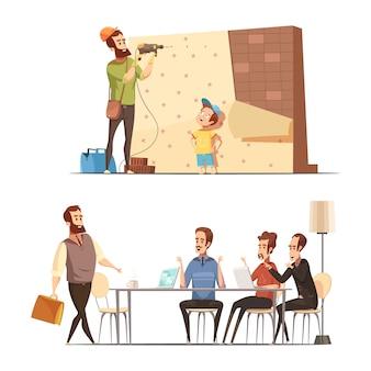 Retro- karikaturarbeitsfamilien-balancenkonzept der vaterschaft 2 mit hauserneuerung und spät in büro lokalisierter vektorillustration