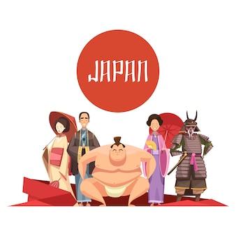 Retro- karikaturentwurf der japanischen personen mit mann und frauen im nationalen kleidungssamurai-sumo-ringer