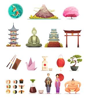 Retro- karikaturikonensammlung der japanischen kulturtraditionenküche mit kirschblütenbonsais