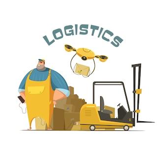 Retro- karikaturkonzept der logistik mit arbeitskraftlader und kästen vector illustration
