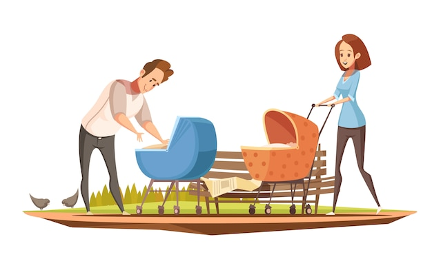 Retro- karikaturplakat der elternschaftsaufgaben mit mutter und vater mit 2 babys in der vektorillustration der prams im freien