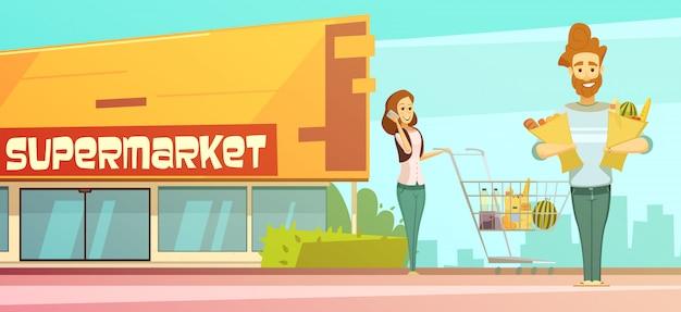 Retro- karikaturplakat des familiensupermarkt-einkaufens mit speichergebäudestraßenansicht