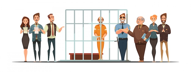 Retro- karikaturplakat des gesetzes und der gerechtigkeit mit satzmitteilung und verurteilung hinter gittern