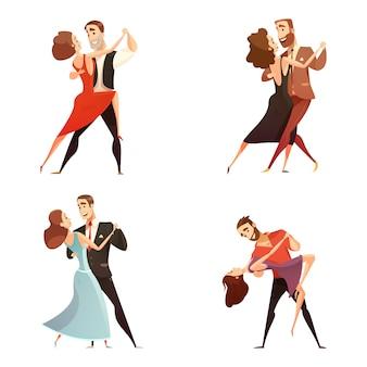Retro- karikatursatz der tanzpaare männer und frauen, die zusammen tanzen