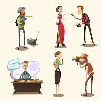 Retro karikatursatz des journalisten