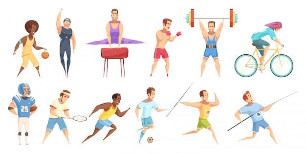 Retro karikatursatz des sportlers