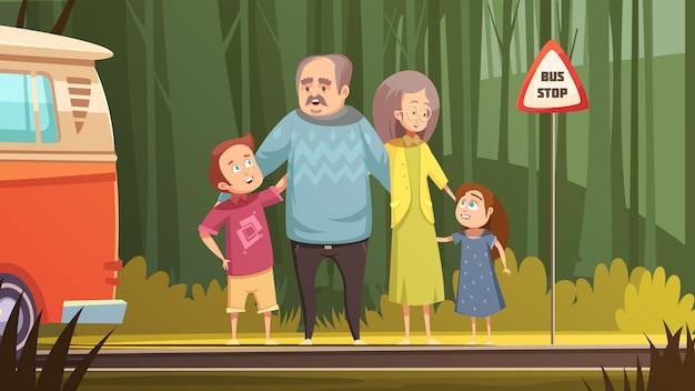 Retro- karikaturzusammensetzung der familie mit den großeltern und enkelkindern, die transport auf flacher vektorillustration der bushaltestelle warten