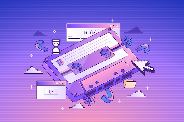 Retro-kassette mit linearem farbverlauf