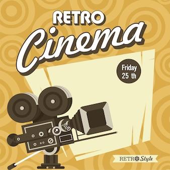 Retro-kino. vintage filmkamera. poster im vintage-stil mit platz für text.