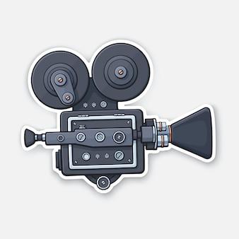 Retro-kinoprojektor vintage-filmkamera altmodische filmkamera vektor-illustration