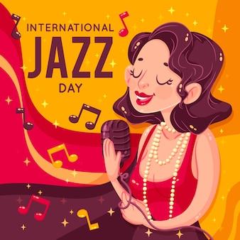 Retro klassisch gekleidete frau, die jazz singt
