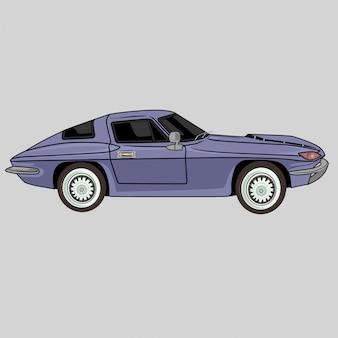 Retro klassischer lila sportwagen
