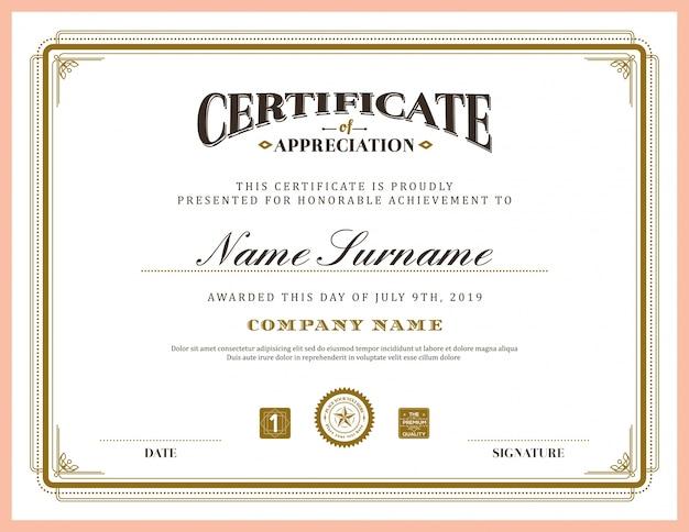 Retro, klassischer rahmen zertifikatvorlage