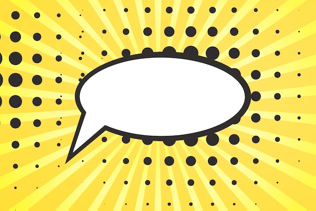 Retro komische leere sprechblase auf buntem hintergrund, pop-art-stil