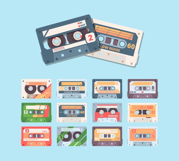 Retro kompakte kassette buntes flaches illustrationsset.
