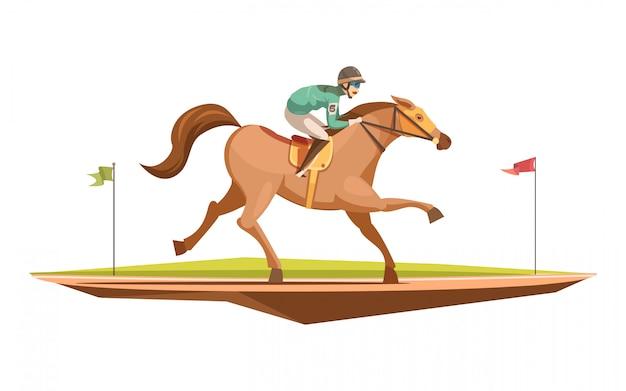 Retro- konzept des entwurfes des reitens in der karikaturart mit jockey auf galoppierender flacher vektorillustration des pferds