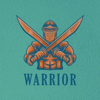 Retro-kriegerillustration für logo-charakter und t-shirt-design