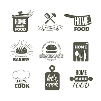 Retro küche zu hause kochen abzeichen und logos