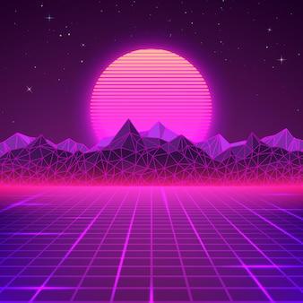 Retro landschaft in lila farben. futuristischer planet neon berge und sonnenuntergang hintergrund. abstrakte geometrische sci-fi-landschaft.
