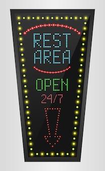 Retro-led-panel ruhezone zeichen