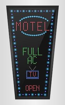 Retro- led-plattenanschlagtafel mit motelzeichen