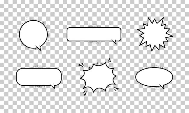 Retro leere comic-blasen und elemente auf transparentem hintergrund. vektor-illustration eps 10