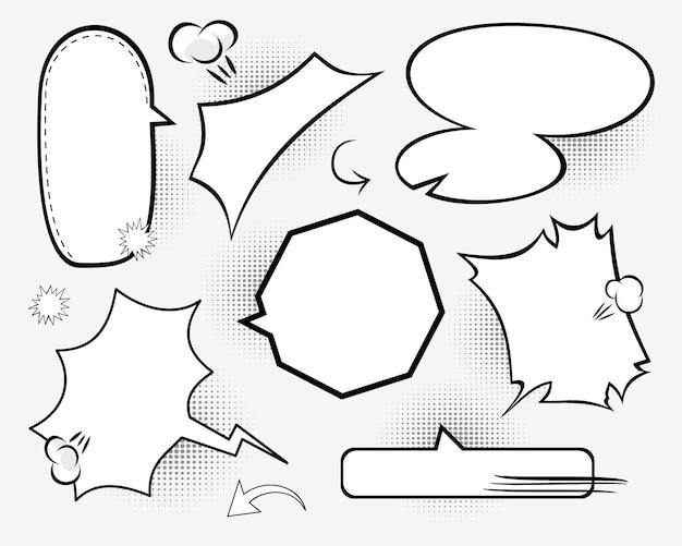 Retro leere comic-blasen und elemente eingestellt.