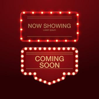 Retro- leuchtkastenanschlagtafel des realistischen hintergrundes 3d für kino, bar show oder restaurant